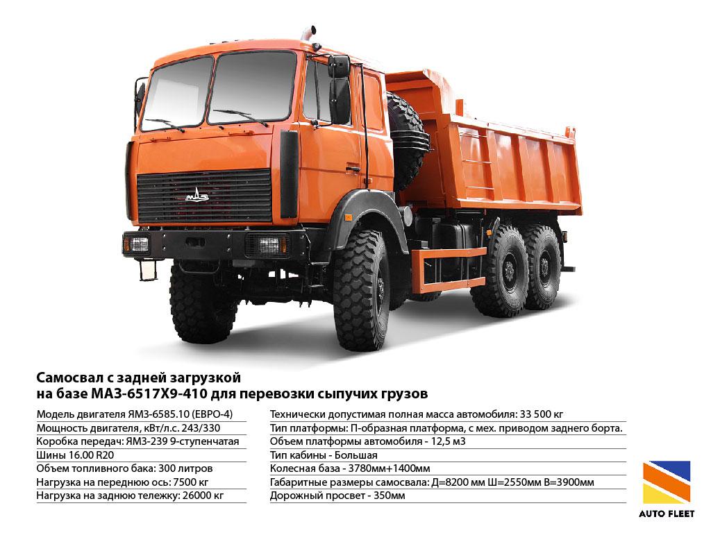 Грузовики МАЗ 6517Х9-410 для перевозки сыпучих грузов