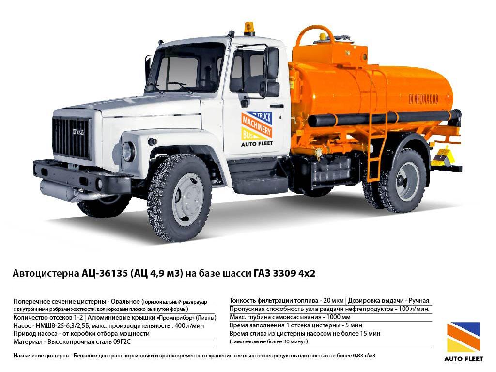 Автоцистерны ГАЗ АЦ-36135 (АЦ 4,9 м3) на базе шасси ГАЗ 3309 4х2