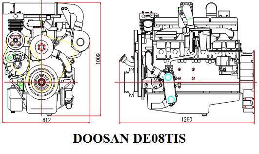 DOOSAN DE08TIS Дизельный, четырехтактный, 6 цилиндров, Экологический класс - ЕВРО-2